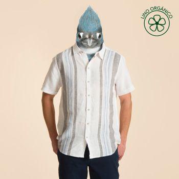 Camisa Manga Corta de Lino Orgánico Hombre Frontstripe