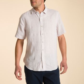 Camisa Manga Corta de Lino Orgánico Hombre Softstripe